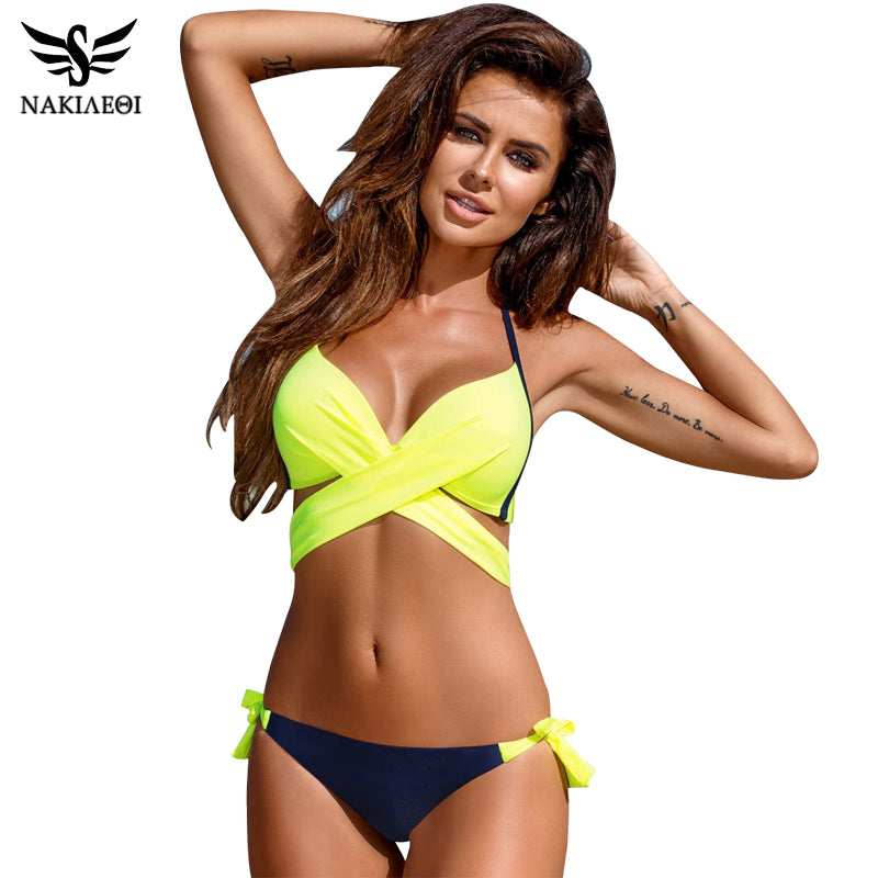 2019 Hot Criss Cross Bandage Push Up Bikini