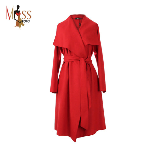 Hot 2017new autumn high fashion trend street women's wool blend Trench Coat Casual long Outerwear loose clothing for lady