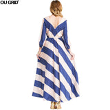 Women Chiffon Dress New Arrivals Deep V-neck Long Sleeve Autumn Dress Striped Patchwork Fashion Casual Maxi Long Dresses