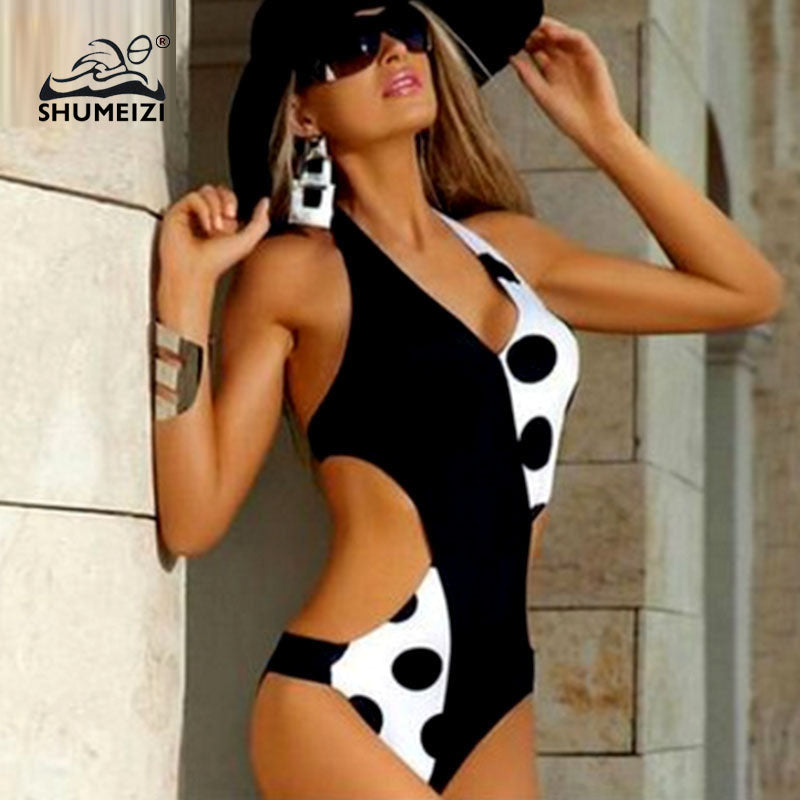 2019 New Black Dot One Piece Monokini swimsuit