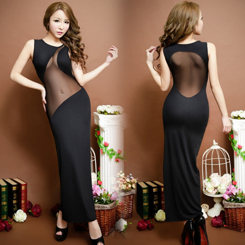 Black Hot Sheath Long Lingerie Dress