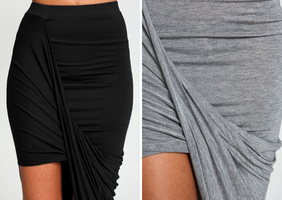 Cross Fold Sexy Wrap Banded Waist Draped women skirt