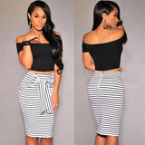 High Waist Stripe Lacing Skirt