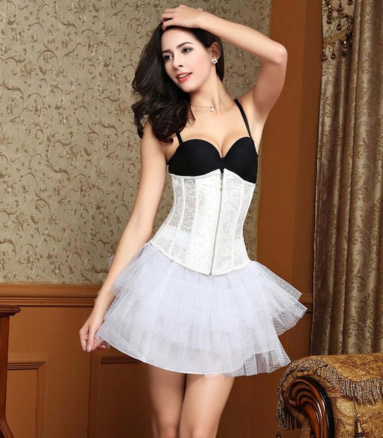 Women CorsetWaist Cincher Gothic Corset Top Bustier Plus Size S-6XL-lingerie-Gift Box Planet-Zipper White-S-United States-Gift Box Planet