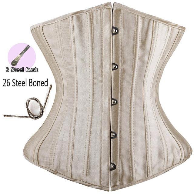 Women CorsetWaist Cincher Gothic Corset Top Bustier Plus Size S-6XL-lingerie-Gift Box Planet-Steel Boned Beige-S-United States-Gift Box Planet