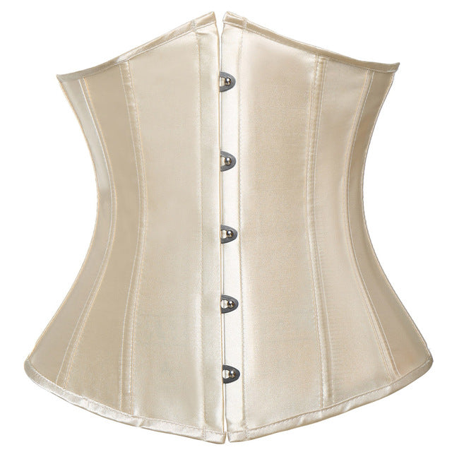 Women CorsetWaist Cincher Gothic Corset Top Bustier Plus Size S-6XL-lingerie-Gift Box Planet-Satin Beige-S-United States-Gift Box Planet