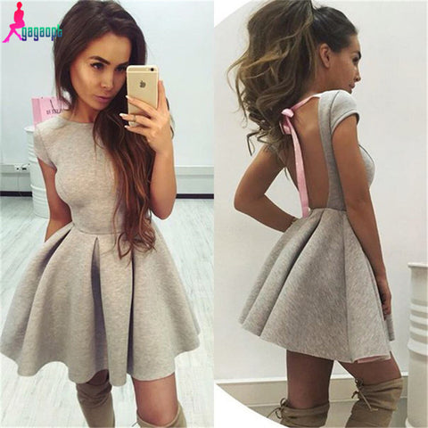 Gagaopt 2016 Summer Party Dresses Princess Open Back Bow Backless Dresses O-neck Women Dresses Free Shipping Vestidos Robes