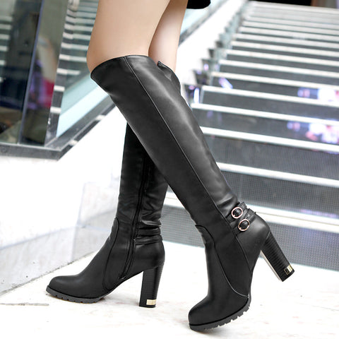 Wool inside Knight high-heeled knee boots