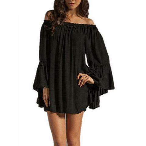 Casual Loose Dress Sexy Slash Neck Off Shoulder Dress Plus Size