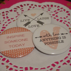 Valentines Day Button Pins Favours - Live Love Laugh - Choose Love - Valentine Treats - Gift for Kids - Gifts for Her - 10 pcs