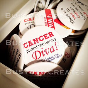 Personalized Pin-spirational Pins - Cancer Awareness Pins - Custom Cancer Pin - Fuck Cancer - Custom Cancer Button for Blood Cancer 10 pcs