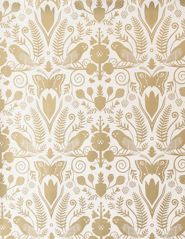 Barn Owls and Hollyhocks by Carson Ellis - Gold on Cream - Sample