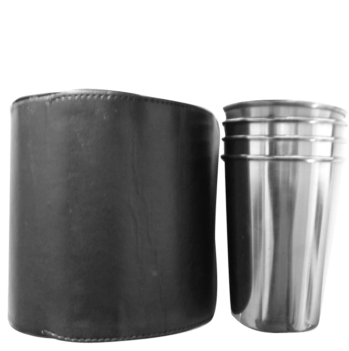 Cup set in leather pouch