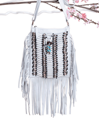 White Boho Bag - Small & Square