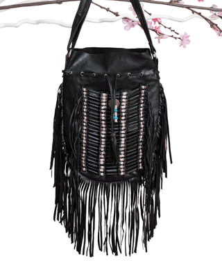 Black Boho Bag - Large & Round