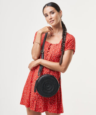 Leather Crossbody Bag - Moon