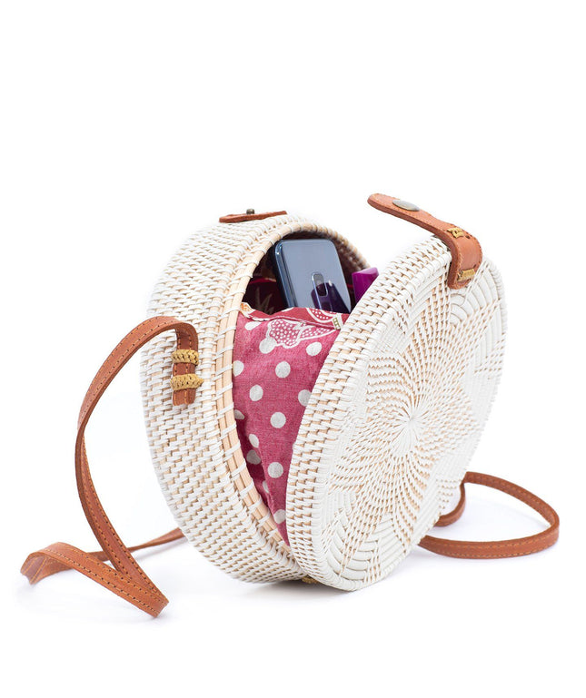 Rattan Bag (Medium) - White Delight