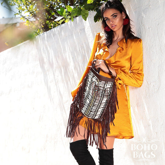 Dark Brown Boho Bag - Large & Square