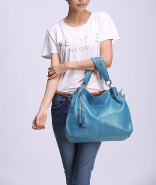 Leather Shoulder Bag - Bleu