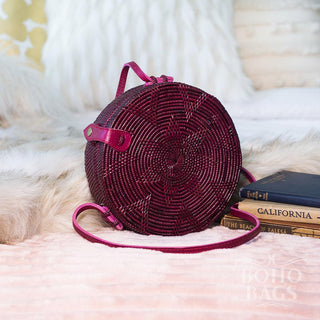 Round Rattan Handbag (Medium) - Capri
