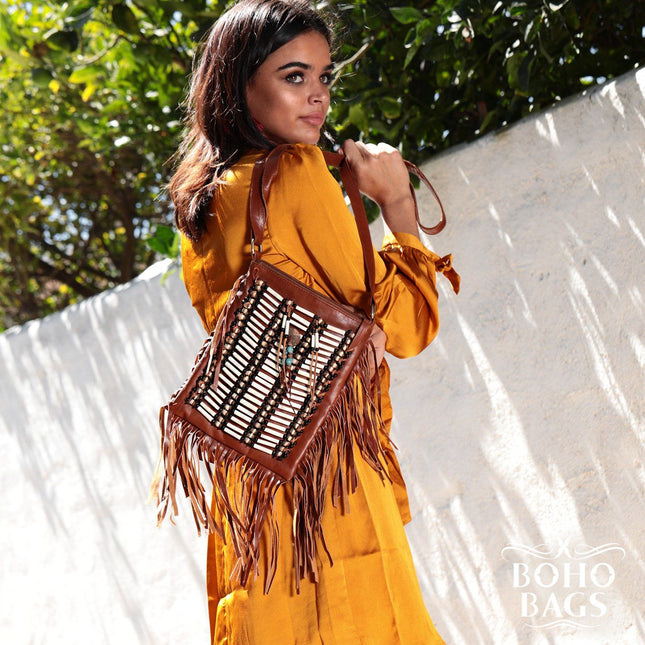 Light Brown Boho Bag - Small & Square