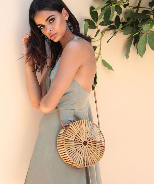 Round Bamboo Bag - Fawn