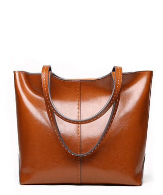 Leather Tote Bag - Viola