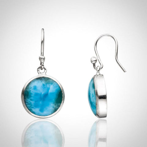 Larimar Earrings - Round Cut
