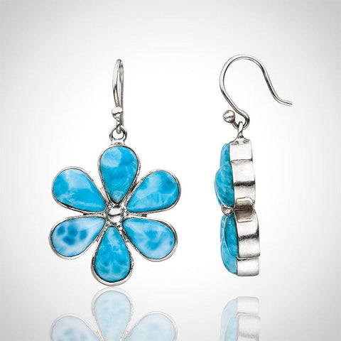 Larimar Earrings - Flower Design