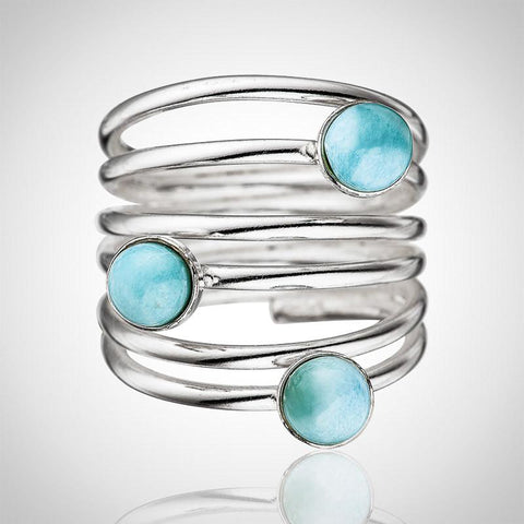Larimar Ring - Twisted With 3 Stones