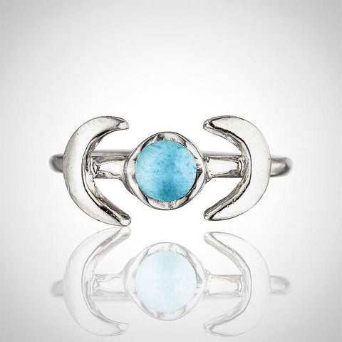 Larimar Ring - Crescent Moon