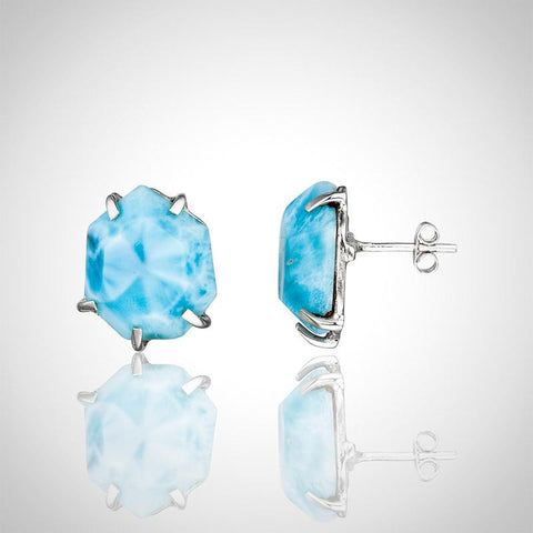 Larimar Earrings - Hexagon Studs