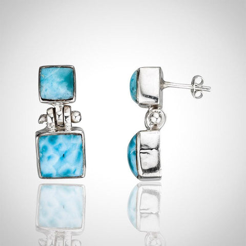 Larimar Earrings - Rectangular Studs