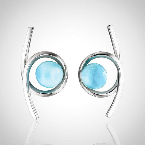 Larimar Earrings - Twisted Elegance