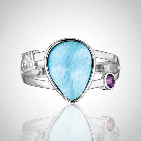 LAURA BONETTI Catalina Collection - Larimar Ring with Topaz & Amethyst
