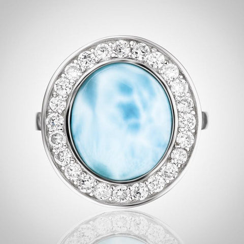 LAURA BONETTI Canoa Collection - Large Larimar Ring
