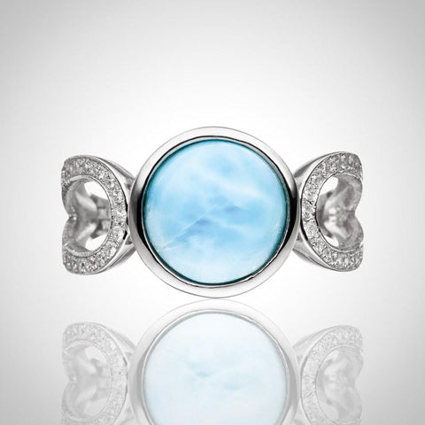 LAURA BONETTI Volcano Allure Collection - Larimar Ring with Cut-Out