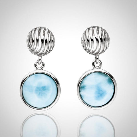 LAURA BONETTI Olas Collection - Round Cut Larimar Earrings