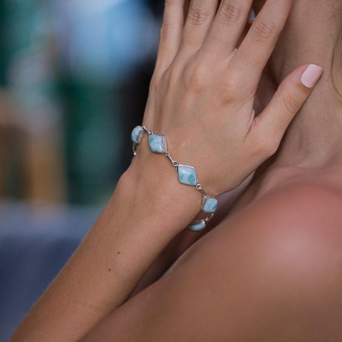 Larimar Bracelet - Oval Rectangle