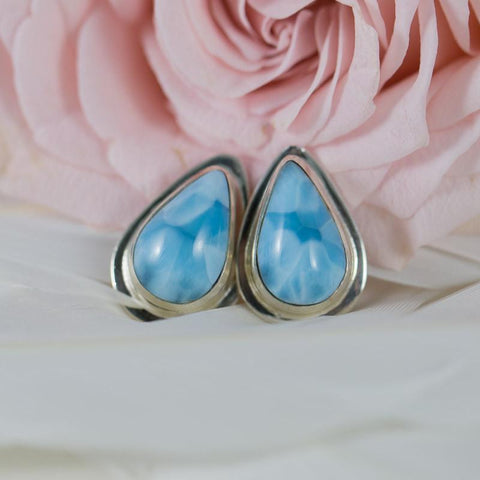 Larimar Earrings - Teardrop Studs