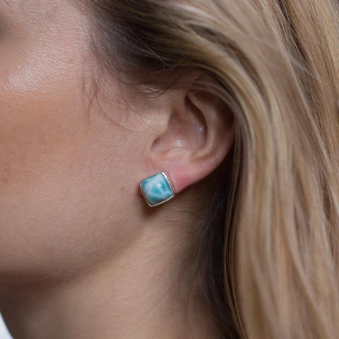 Larimar Earrings - Square Studs