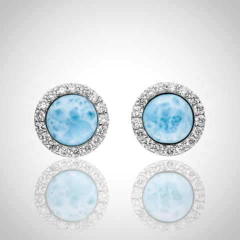 LAURA BONETTI Volcano Allure Collection - Larimar Earrings with Topaz