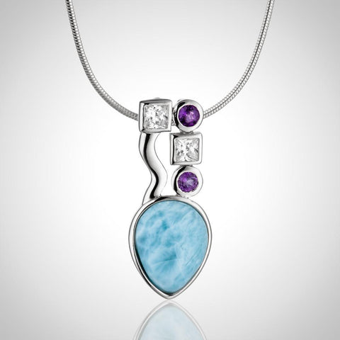 LAURA BONETTI Catalina Collection - Larimar Pendant with Topaz & Amethyst