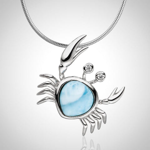 LAURA BONETTI Cruise Memories Collection - Diagonal Larimar Crab Pendant