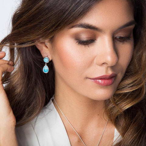 LAURA BONETTI Essentials Collection - Larimar Teardrop Stud Earrings