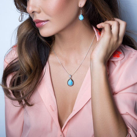 LAURA BONETTI Paraiso Collection - Larimar Teardrop Pendant