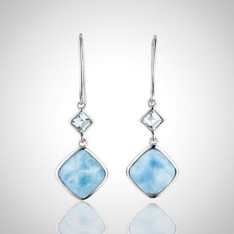 LAURA BONETTI Something Blue Collection - Larimar Earrings With Topaz
