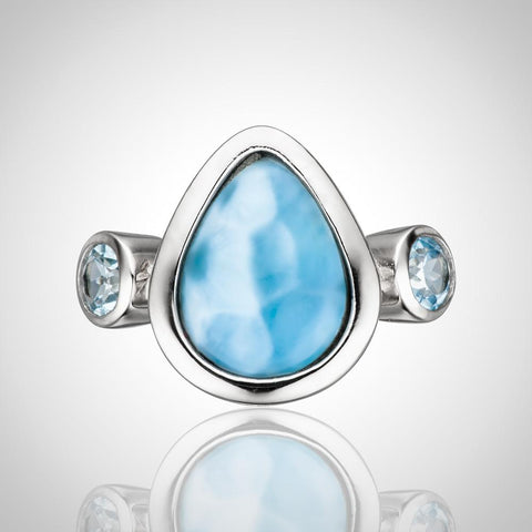 LAURA BONETTI Something Blue Collection - Larimar Teadrop Ring