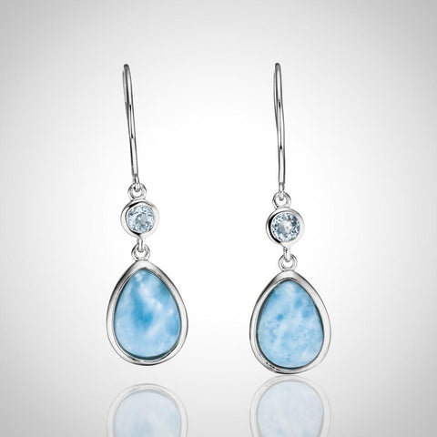 Larimar Earrings - Studded Teardrops