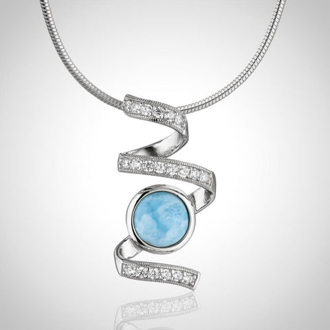LAURA BONETTI Volcano Allure Collection - Larimar Pendant with Topaz